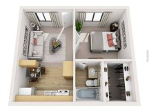 Stylish studio apartment floor plans ideas 10
