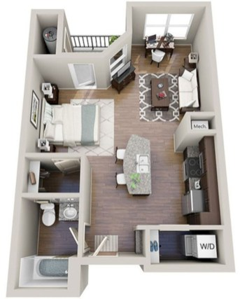 Stylish studio apartment floor plans ideas 25