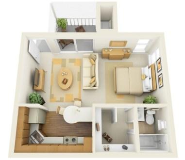 Stylish studio apartment floor plans ideas 29