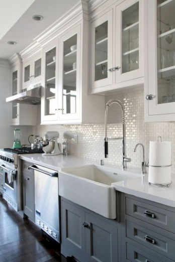 Beautiful gray kitchen cabinet design ideas 25