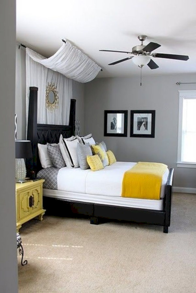 Comfy Grey Yellow Bedrooms Decorating Ideas (1)