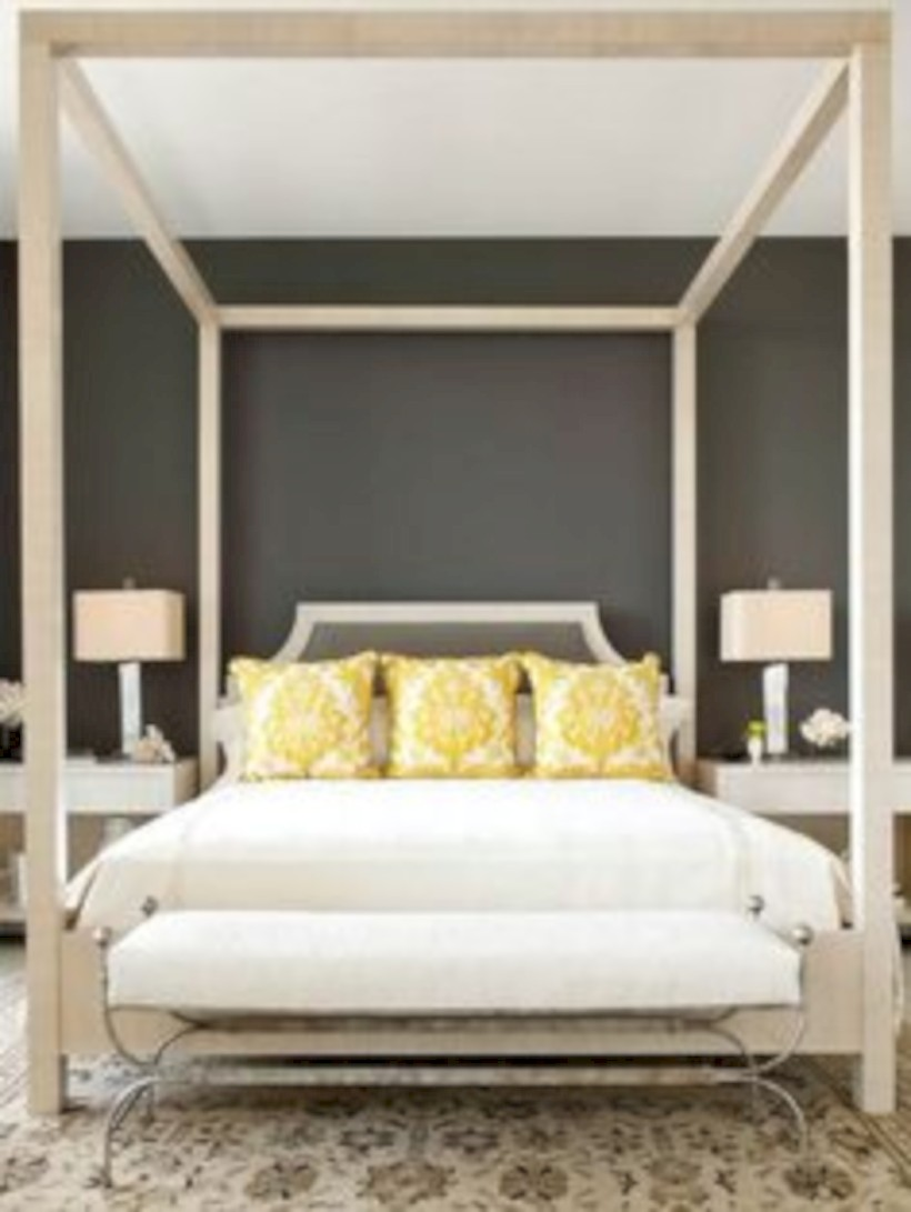 Comfy grey yellow bedrooms decorating ideas (16)