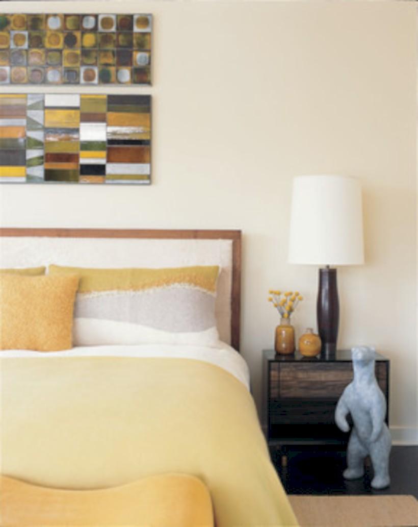 Comfy grey yellow bedrooms decorating ideas (28)