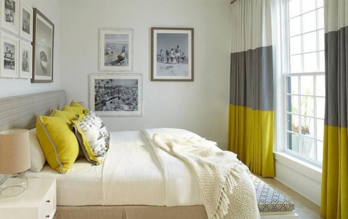 Comfy grey yellow bedrooms decorating ideas (29)