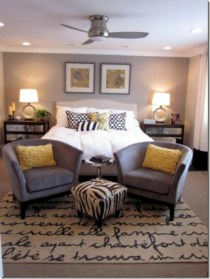 Comfy grey yellow bedrooms decorating ideas (33)