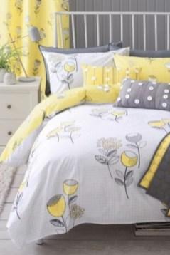 Comfy grey yellow bedrooms decorating ideas (44)