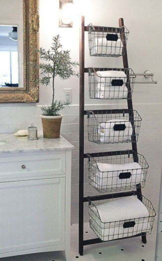Cool bathroom storage shelves organization ideas 12