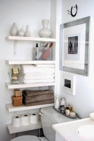 Cool bathroom storage shelves organization ideas 26