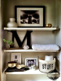 Cool bathroom storage shelves organization ideas 35