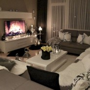 Cozy apartment living room black and white style inspirations ideas 08
