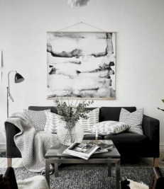 Cozy apartment living room black and white style inspirations ideas 12