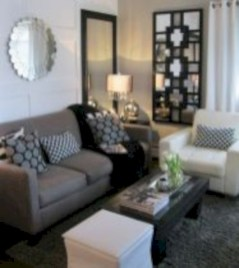 Cozy apartment living room black and white style inspirations ideas 15
