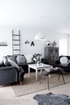 Cozy apartment living room black and white style inspirations ideas 26