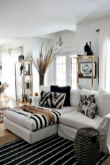 Cozy apartment living room black and white style inspirations ideas 29