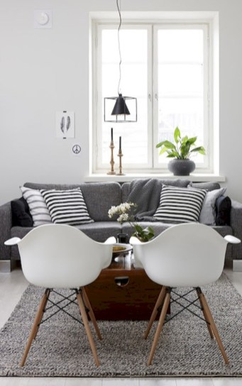Cozy apartment living room black and white style inspirations ideas 30