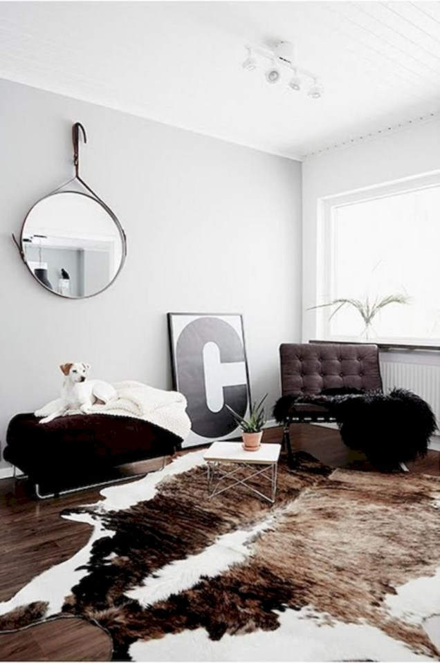 Cozy apartment living room black and white style inspirations ideas 44