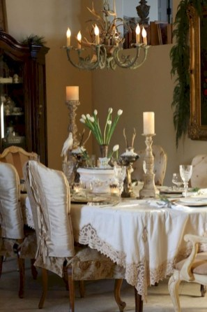 Fancy french country dining room table decor ideas 26