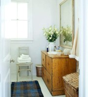 Simple and cozy farmhouse wooden bathroom inspirations ideas 04