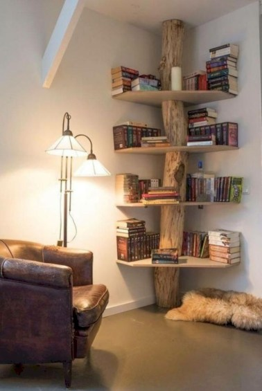 Stunning corner shelves decoration ideas 26