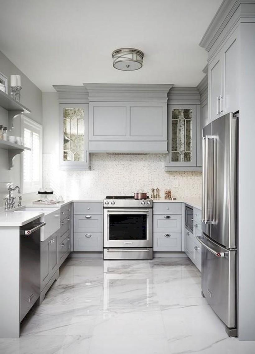 Beautiful gray kitchen cabinets design ideas 34
