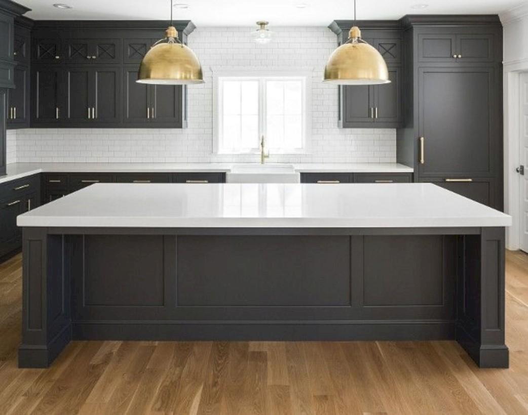 Beautiful gray kitchen cabinets design ideas 35