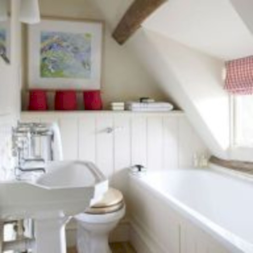 Cool attic bathroom remodel ideas 36