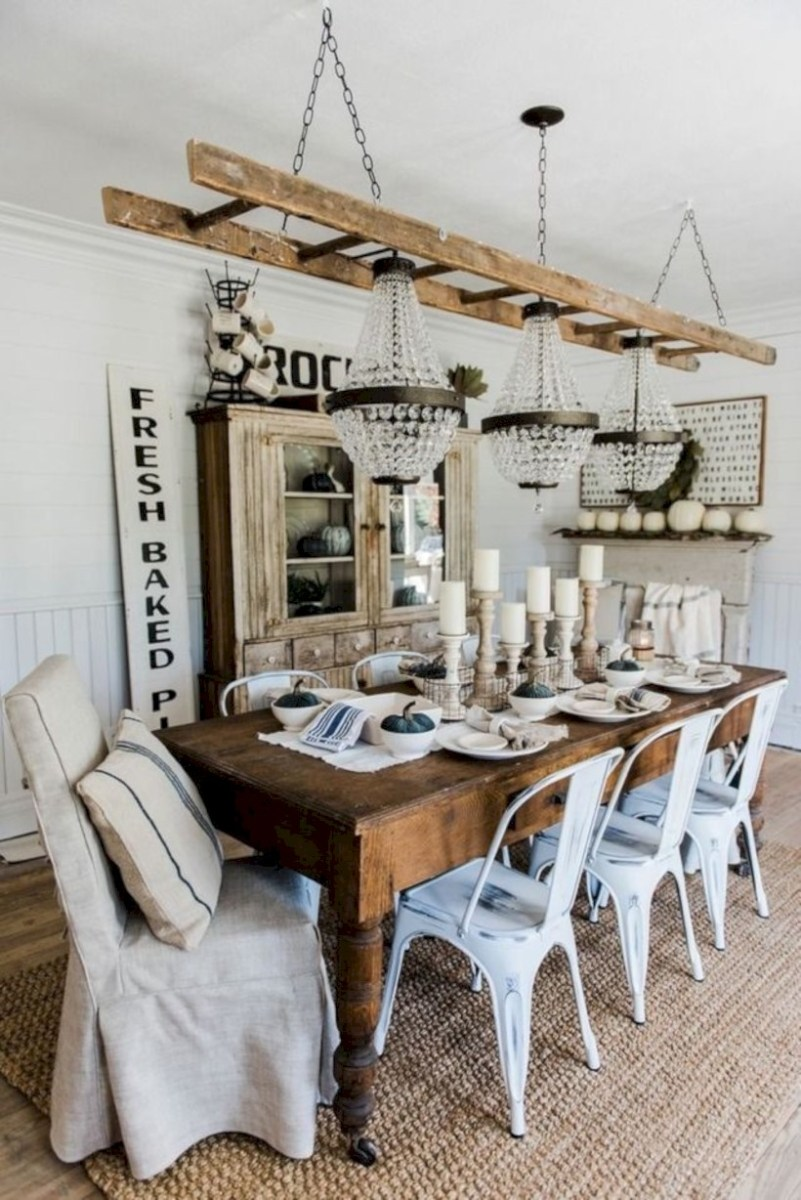 Rustic farmhouse dining room table decor ideas 06