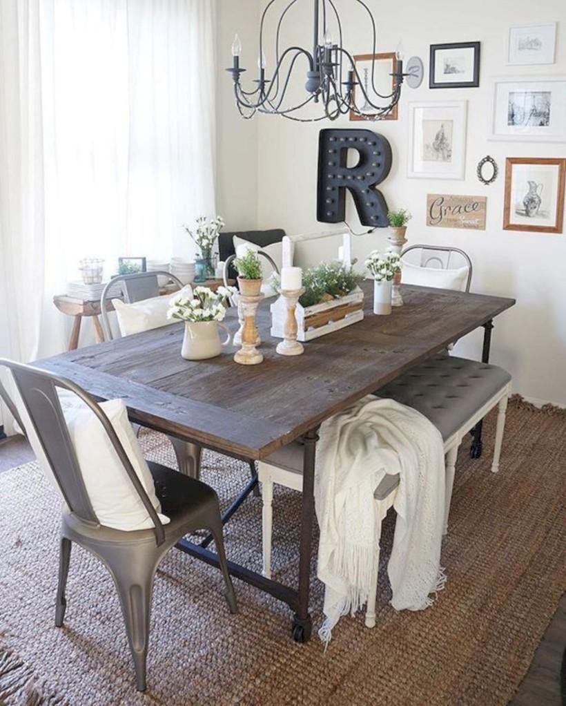 Rustic Farmhouse Dining Room Table Decor Ideas 21 Roundecor