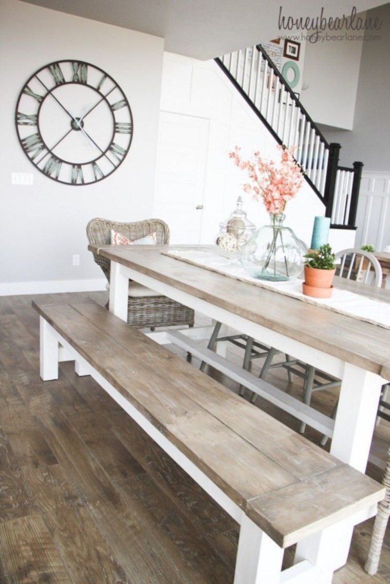 Rustic farmhouse dining room table decor ideas 41