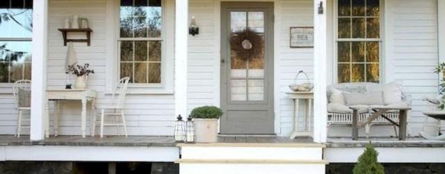Rustic farmhouse porch steps decor ideas 16