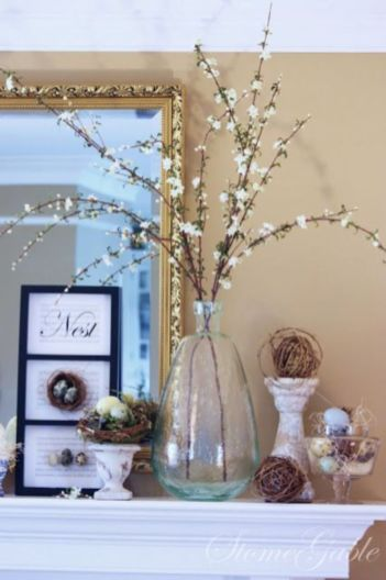 Beautiful spring mantel decorating ideas on a budget (46)