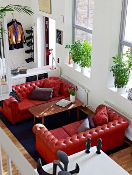 Fantastic red leather sofa designs ideas for family rooms (45)