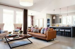 Stunning modern leather sofa design for living room (32)