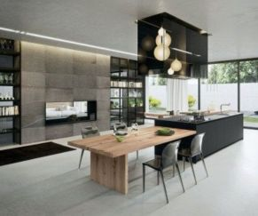 Stylish luxury black kitchen design ideas (31)