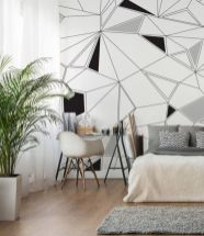 Totally inspiring black and white geometric wallpaper ideas for bedroom (18)