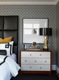 Totally inspiring black and white geometric wallpaper ideas for bedroom (25)