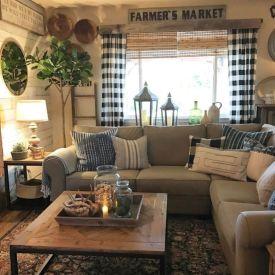 Elegant farmhouse living room design decor ideas (29)