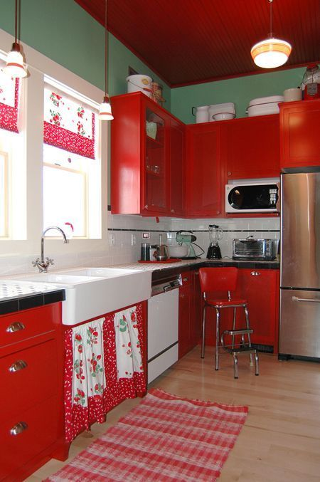 Well passionate red kitchen designs that you must see 47