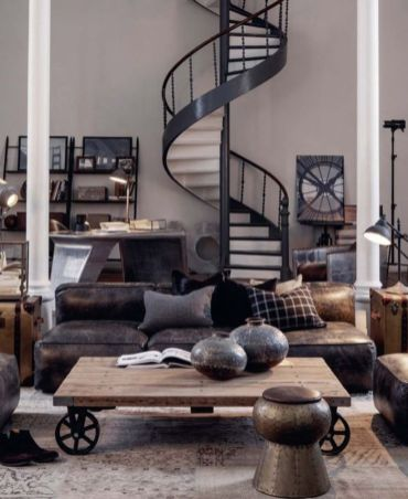 Awesome rustic industrial living room design and decor ideas 45