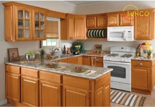 Amazing oak cabinet kitchen makeover ideas 30