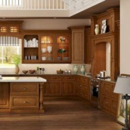 Amazing oak cabinet kitchen makeover ideas 35