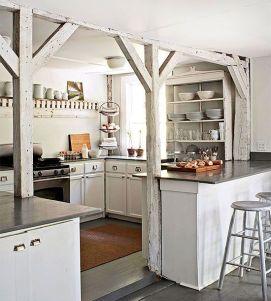 Comfy antique white kitchen cabinets ideas 29