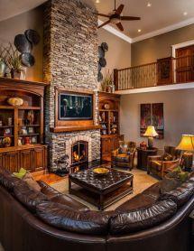 Cute rustic fireplace design ideas 06