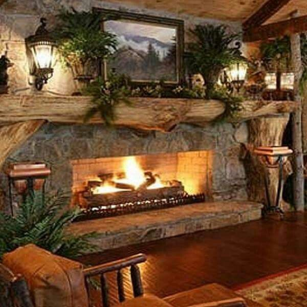 Cute rustic fireplace design ideas 16