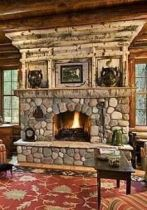 Cute rustic fireplace design ideas 21
