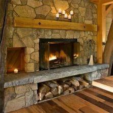 Cute rustic fireplace design ideas 35