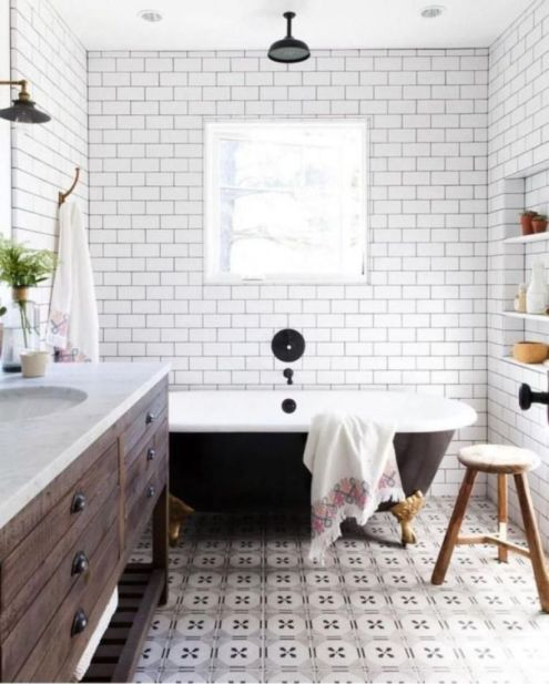 Awesome farmhouse shower tiles ideas 14