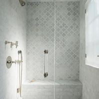 Awesome farmhouse shower tiles ideas 16