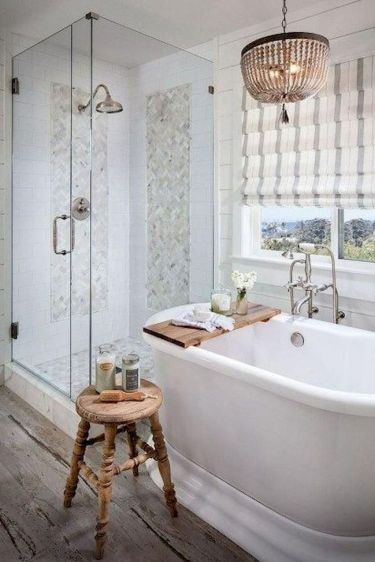 Awesome farmhouse shower tiles ideas 35