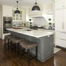 Cozy white kitchen with dark floors 01